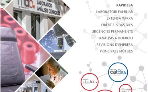 Els nostres laboratoris, a la contraportada de la revista del COMB